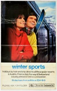 Travel Poster Winter Sports Ski British Railways