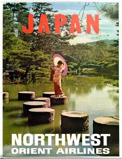 Travel Poster Japan Northwest Orient Airlines