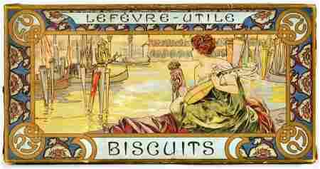 Art Nouveau Alphonse Mucha Buscuit Box Lefevre Utile