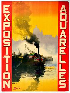 Advertising Poster Exposition Aquarelles Antoine