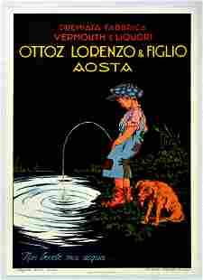 Advertising Poster Ottoz Lorenzo Figlio Vermouth