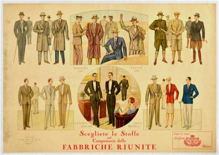 Advertising Poster Men Fashion Italy Art Deco Torino
