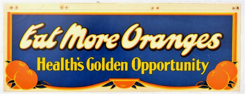 Advertising Poster Eat More Oranges Health Golden