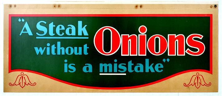 Advertising Poster Steak Without Onions Is a Mistake