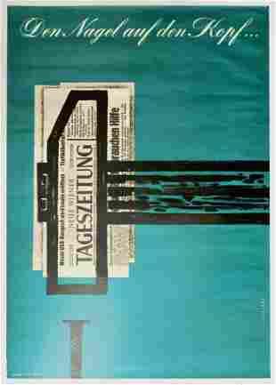 Advertising Poster Tageszeitung Newspaper Vienna
