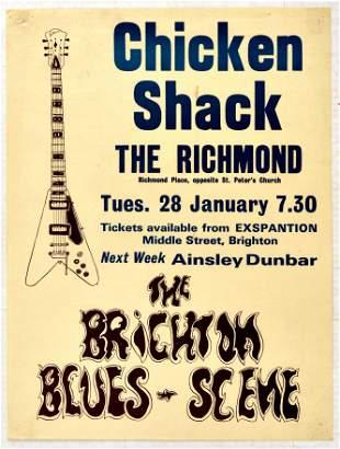 Advertising Poster Chicken Shack Concert Brighton Blues