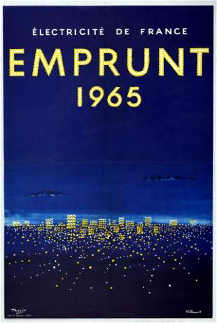 Advertising Poster Set Emprunt Bonds France Electricity