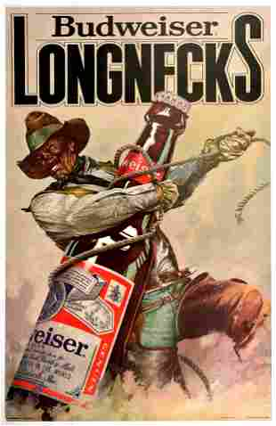 Advertising Poster Budweiser Beer Longnecks Cowboy