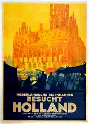 Travel Poster Dutch Railway Holland Town Hall Zeeland