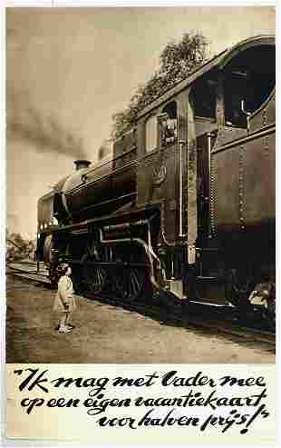 Travel Poster Dutch Railway Steam Locomotive Child