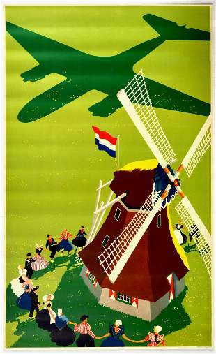 Travel Poster Holland Windmill Airplane