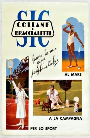 Travel Poster Josephine Baker Jewellery Tennis Italy