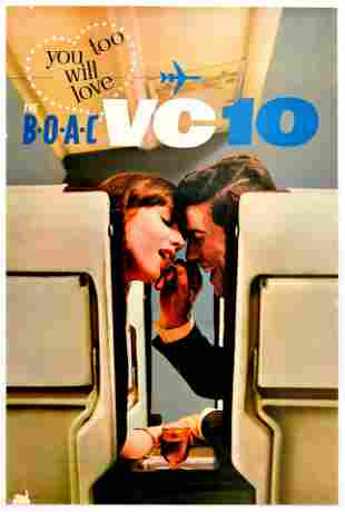 Travel Poster BOAC Airline Love VC10