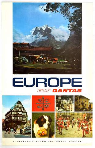 Travel Poster Europe Fly Qantas Airline