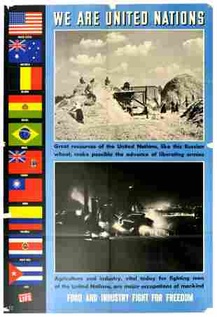 War Poster United Nations WWII Food and Industry