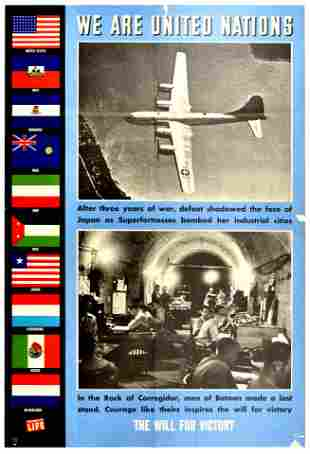 War Poster United Nations WWII Japan Bataan