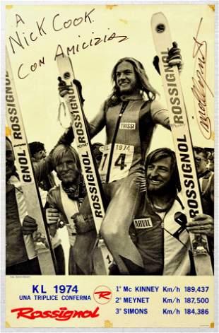 Sport Poster Ski Rossignol Skiing Signed