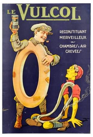Advertising Poster Vulcol Tyre Repair Tamagno Moto