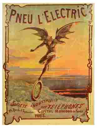 Advertising Poster Pneu Electric Devil Wings Paris