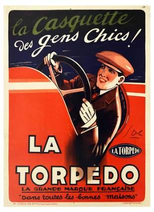 Advertising Poster La Torpedo Hats Art Deco Car