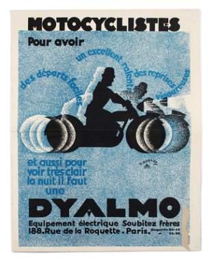 Advertising Poster Art Deco Motorcycle Dynamo Dyalmo