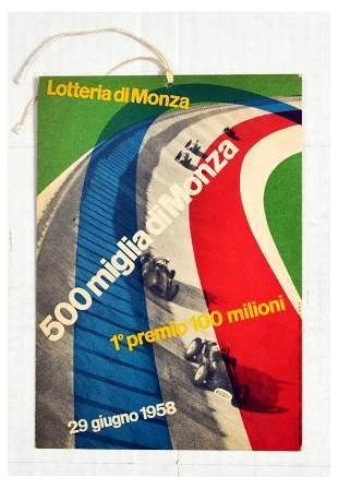 Sport Poster 500 Miglia di Monza Racing Track Lottery