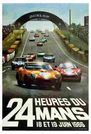 Advertising Poster 24 Heures du Mans 1966 Ford GT40