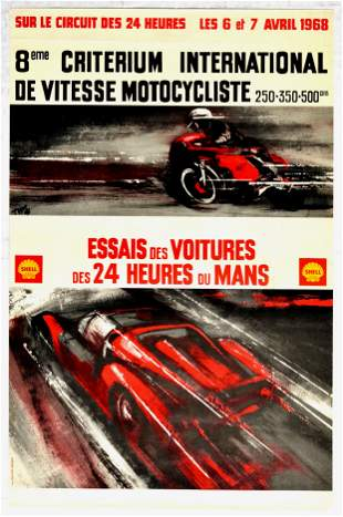 Advertising Poster Shell 24 Hours Le Mans Motorcycle