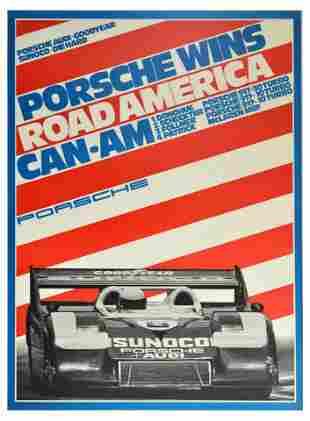 Advertising Poster Porsche 917 Wins Road America CanAm