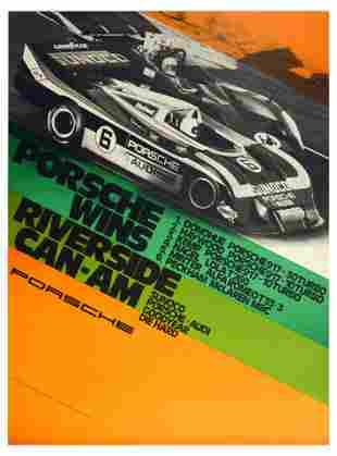 Advertising Poster Porsche 917 Wins Riverside CanAm