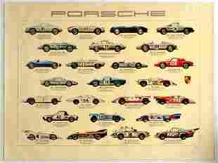 Advertising Poster Poster Porsche Racing Cars Ken Rush