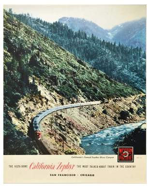 Advertising Poster California Zephyr Western Pacific