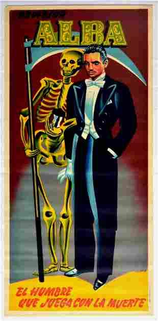 Advertising Poster Professor Alba Magician Death Play