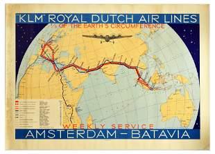 Travel Poster KLM Royal Dutch Airline Amsterdam Batavia