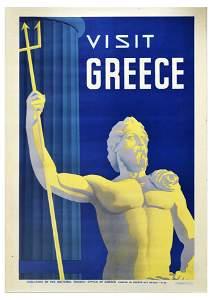 Travel Poster Greece Athens Greek God Poseidon