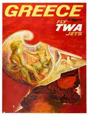 Travel Poster TWA Airlines Greece Sculpture David Klein