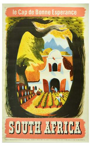 Travel Poster South Africa Wine Vineyard Cape Of Good