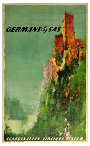Travel Poster Germany SAS Scandinavian Airlines Travel