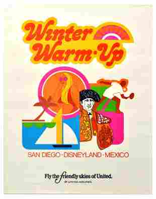 Travel Poster United Airlines Winter Warm Up San Diego