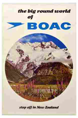Travel Poster BOAC New Zealand Mountain Valley