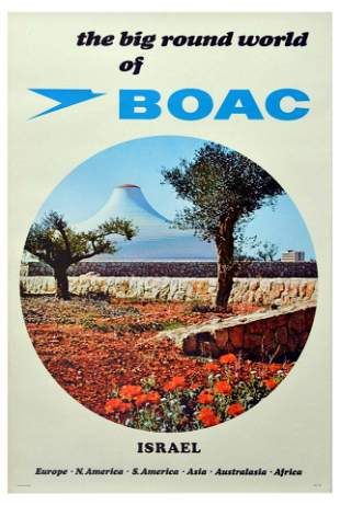 Travel Poster BOAC Isreal Shrine of the Book
