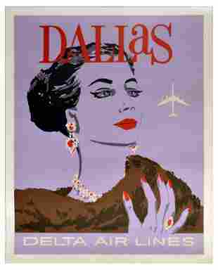 Travel Poster Delta Air Lines Dallas USA