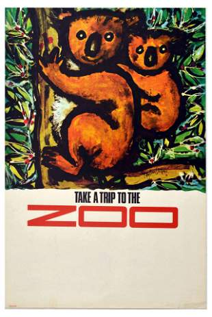 Travel Poster British Bus Trip to the Zoo Koala