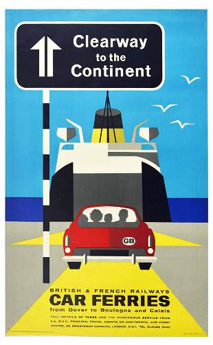 Travel Poster British Railways SNCF Car Ferry Dover