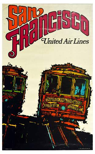 Travel Poster United Airlines San Francisco Travel