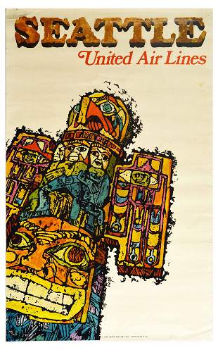 Travel Poster United Airlines Seattle Travel Totem Pole