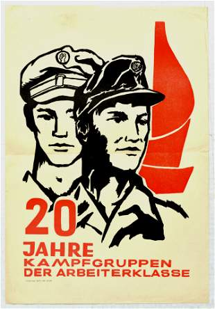 Propaganda Poster Working Class Combat Groups DDR
