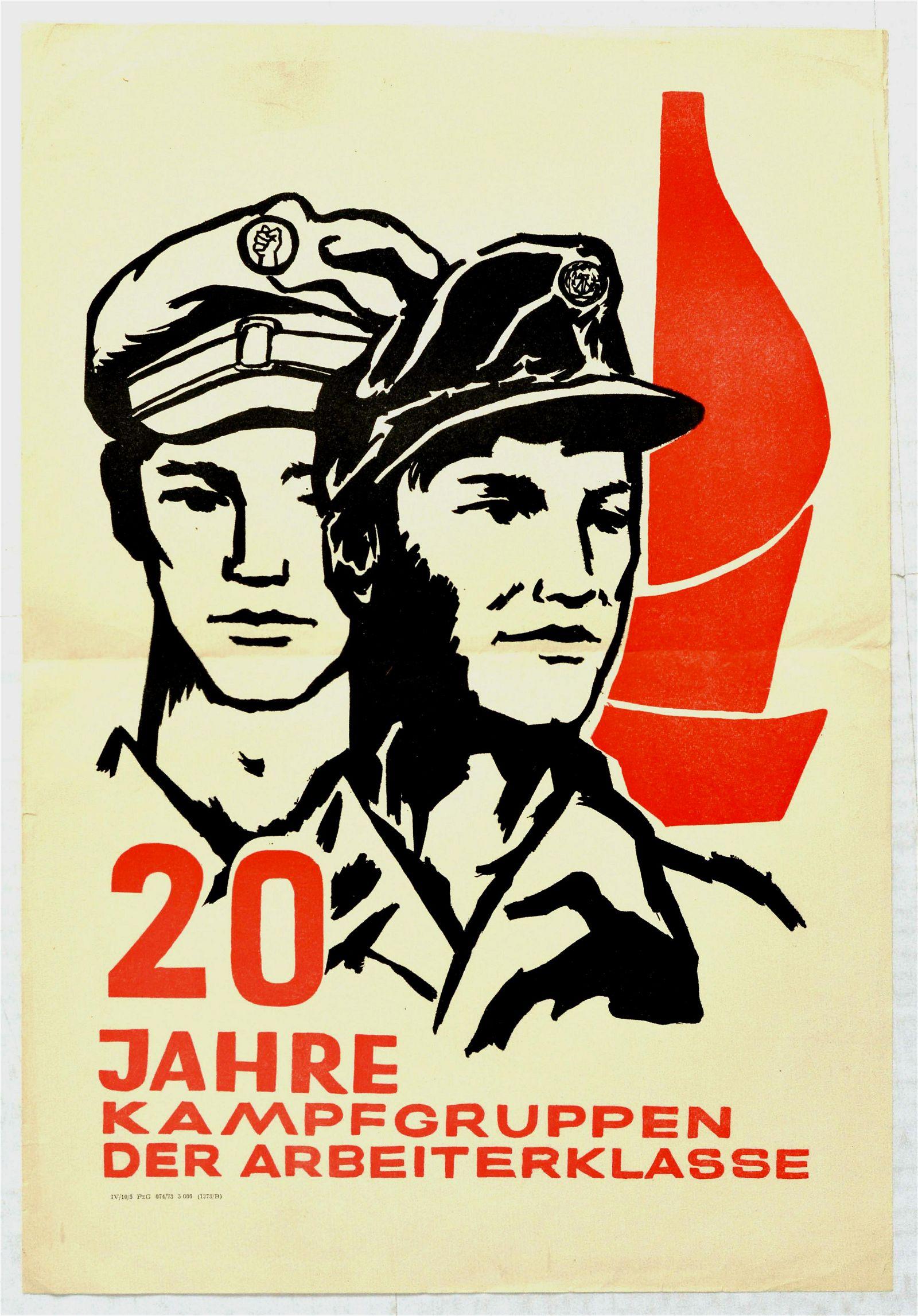 Propaganda Poster Working Class Combat Groups DDR