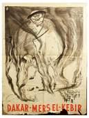 War Poster WWII Anti British Nazi France Dakar Winston