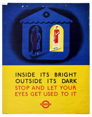 War Poster London Underground WWII BLackout Inside Its
